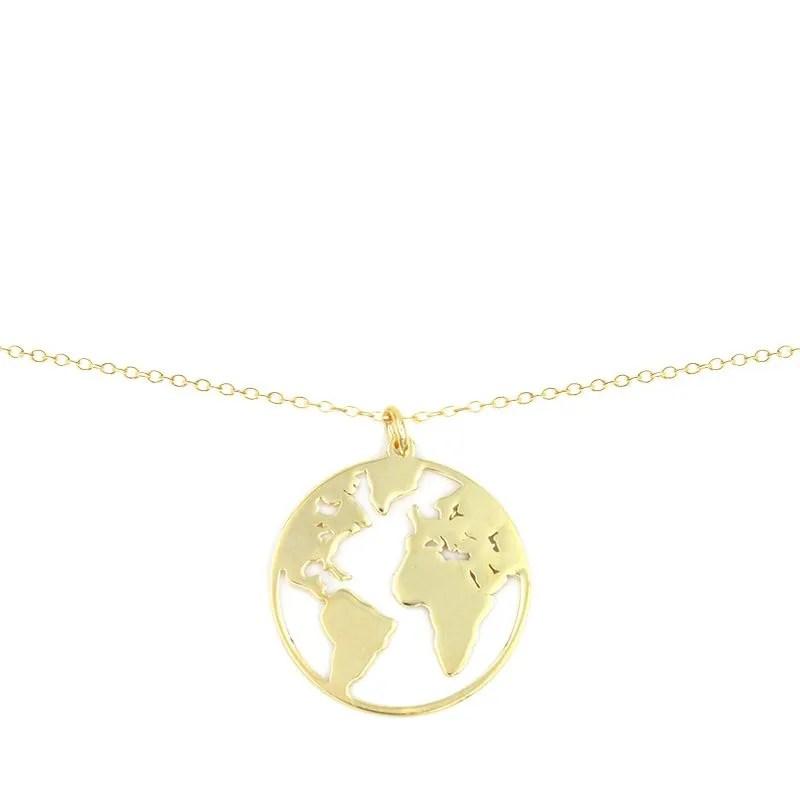 collar con colgante en forma de mundo, colgante world, collar map