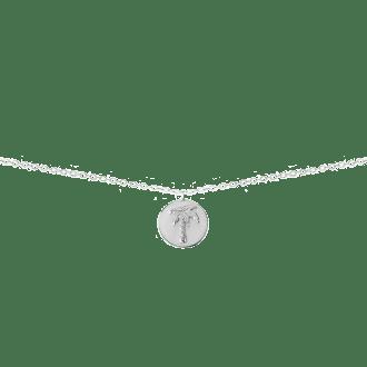 Collar con colgante en forma de medalla con palmera