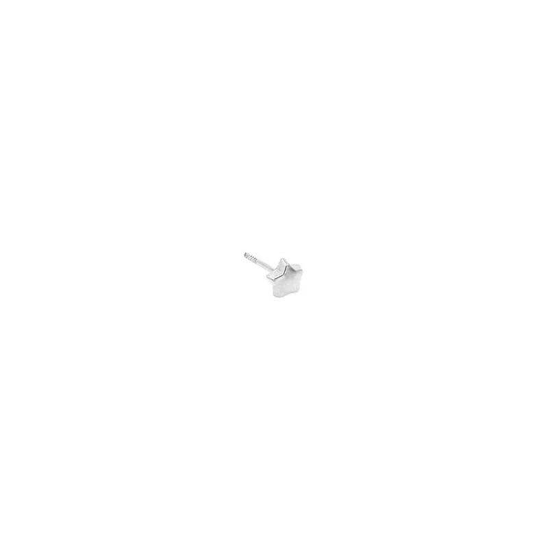 Pendiente estilo bebe con tuerca plana en plata con forma de estrella