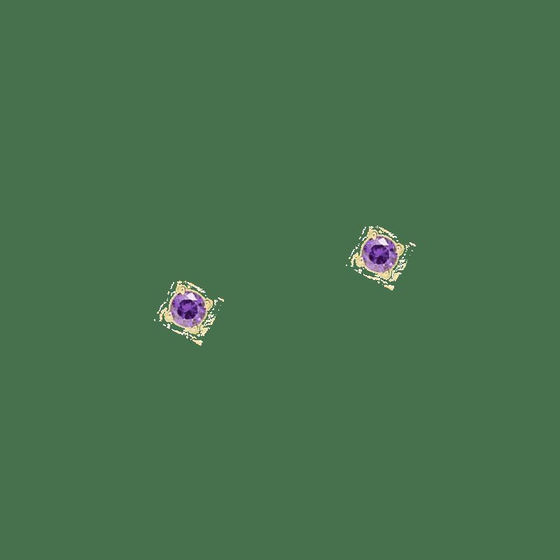 Pendientes mini de circonitas moradas violetas de 3mm