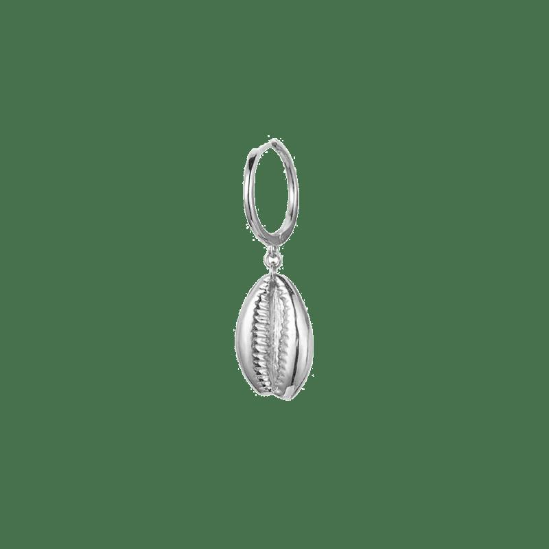 Pendientes de aro con conchita en plata de ley