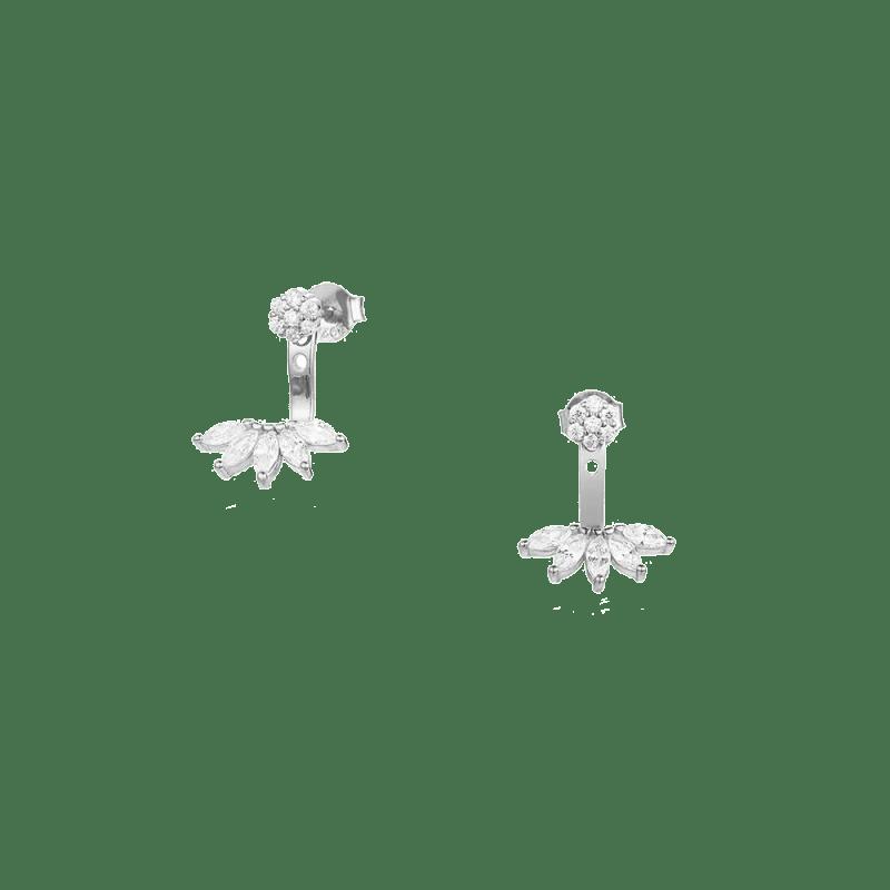 Pendientes de flor estilo ancla con aplique de hojas