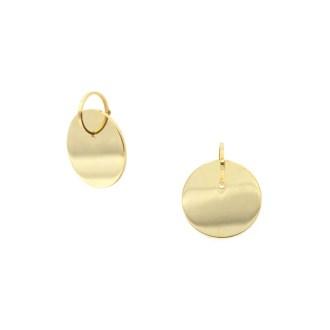 aros con chapa en dorado, pendientes geométricos de estilo minimalista
