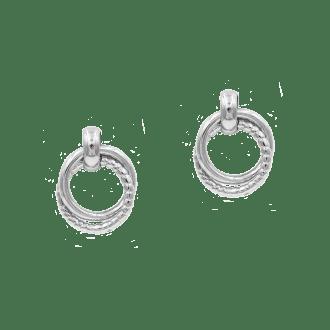 Pendientes de doble aro enlazado en plata de ley