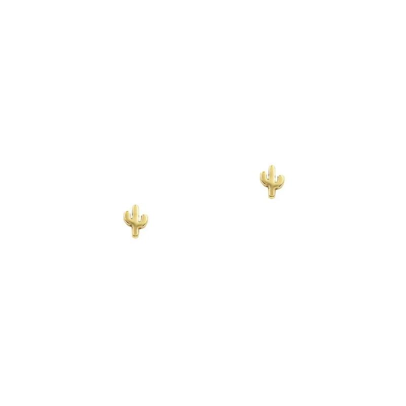Pendientes pequeños en forma de cactus en plata bañada en oro