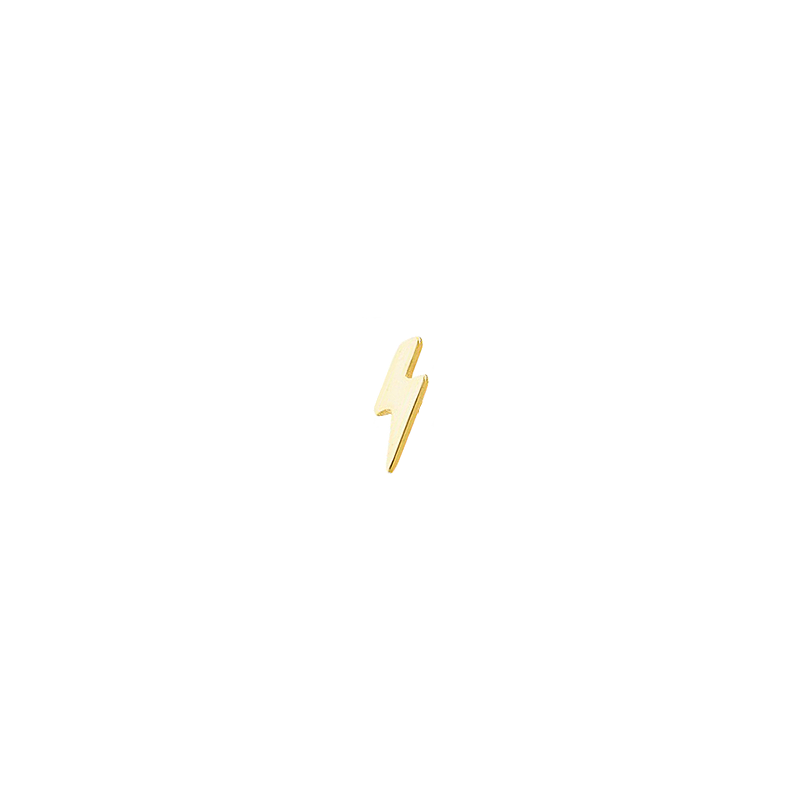 Piercing en plata bañada en oro con forma de rayo
