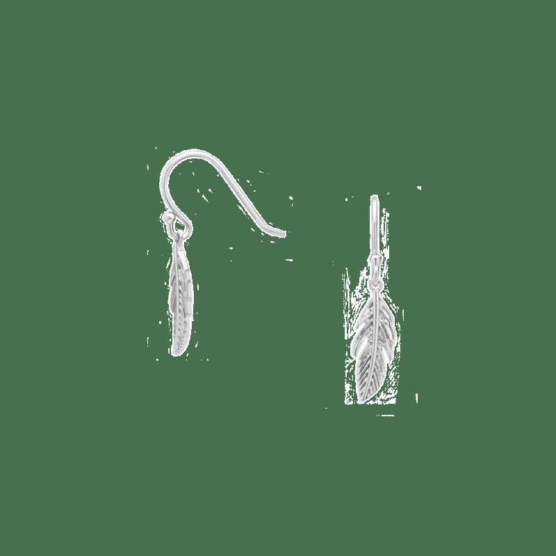Pendientes de pluma estilo gancho en plata de ley