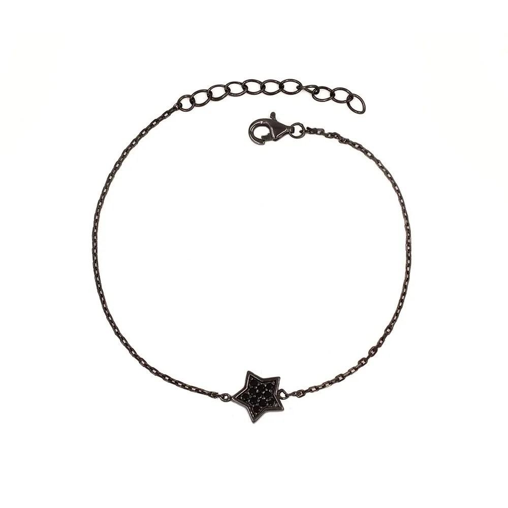 9f78cc72da01 Pulsera con estrella de circonitas con baño de rodio negro