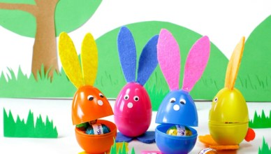 Make these adorable bunnies out of plastic eggs for Easter.