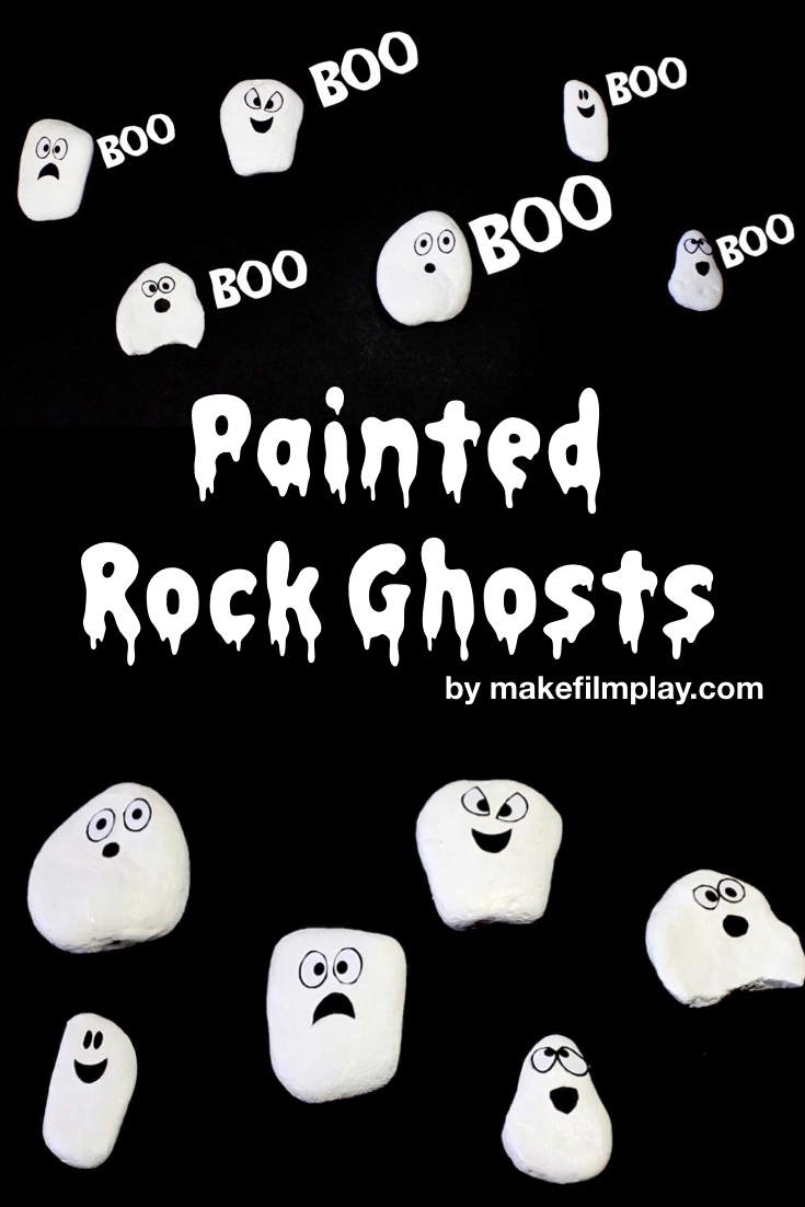 I took the kids out beachcombing for some smooth rocks that would be easy for them to paint on. We painted our rocks white, and while they were drying, I printed out the ghost face template which can be downloaded for free at makefilmplay.com. Watch the video or follow our step-by-step picture tutorial to see how we made these ghost rocks.