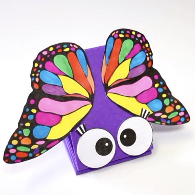 This puppet is very easy to make. Just download our free template, colour in the butterfly, and follow the video instructions for how to put the puppet together. #kidscrafts, #springcrafts, #papercrafts, #puppets