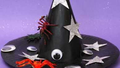 How to Make a Witch'€™s Hat from a Paper Plate and a Party Hat.