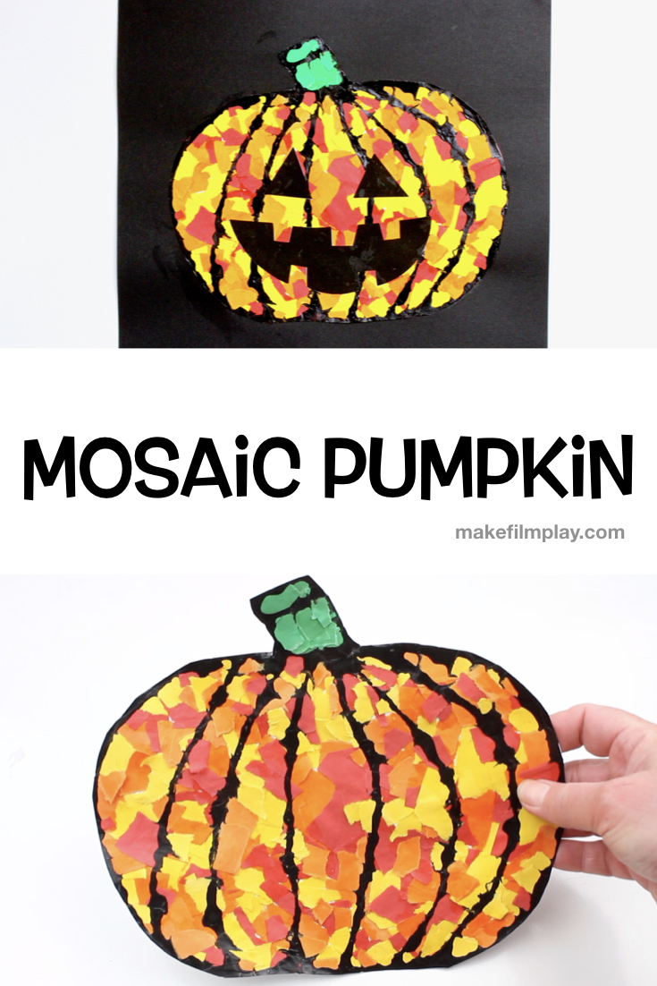 We are in full swing with our Halloween crafts and in this video, my daughter shows you how to make an easy mosaic pumpkin. We outlined the pumpkin details with black glue. #kidscrafts #halloween #blackglue #Pumpkin