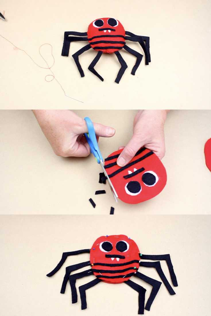 """Today, I'm excited to share this felt spider softie. This project is part of the """"Sew a Softie for Halloween"""" series. #halloween #sewasoftie #spider #softie #sewing #homemade #sewingwith kids #stopmotion #animation  #kidscrafts #kidsactivities"""