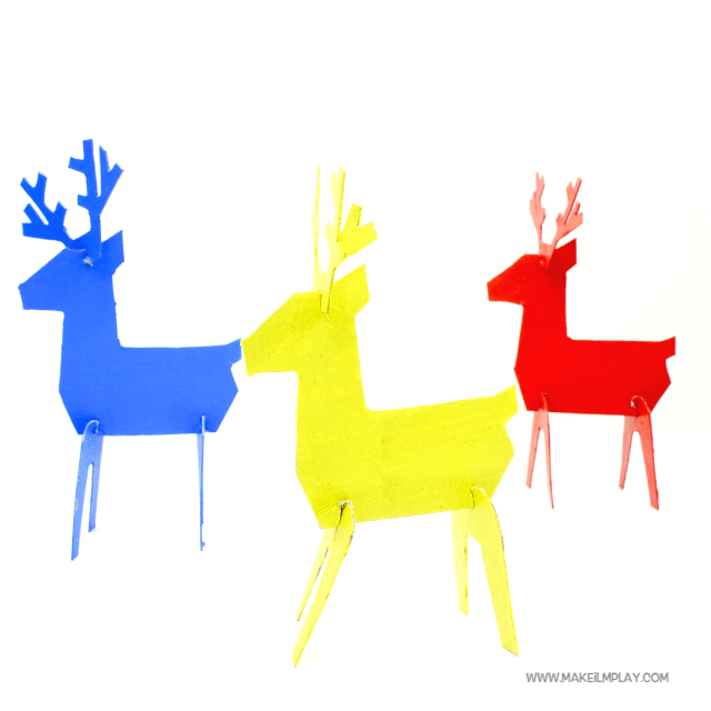 Start by printing the free template. Then, simply cut, decorate with paint, and slot the cardboard pieces together, and your reindeer is ready for display or for hours of creative, imaginary play.  #kidscrafts #christmas #crafts #papercrafts #reindeer #christmascraftsforkids