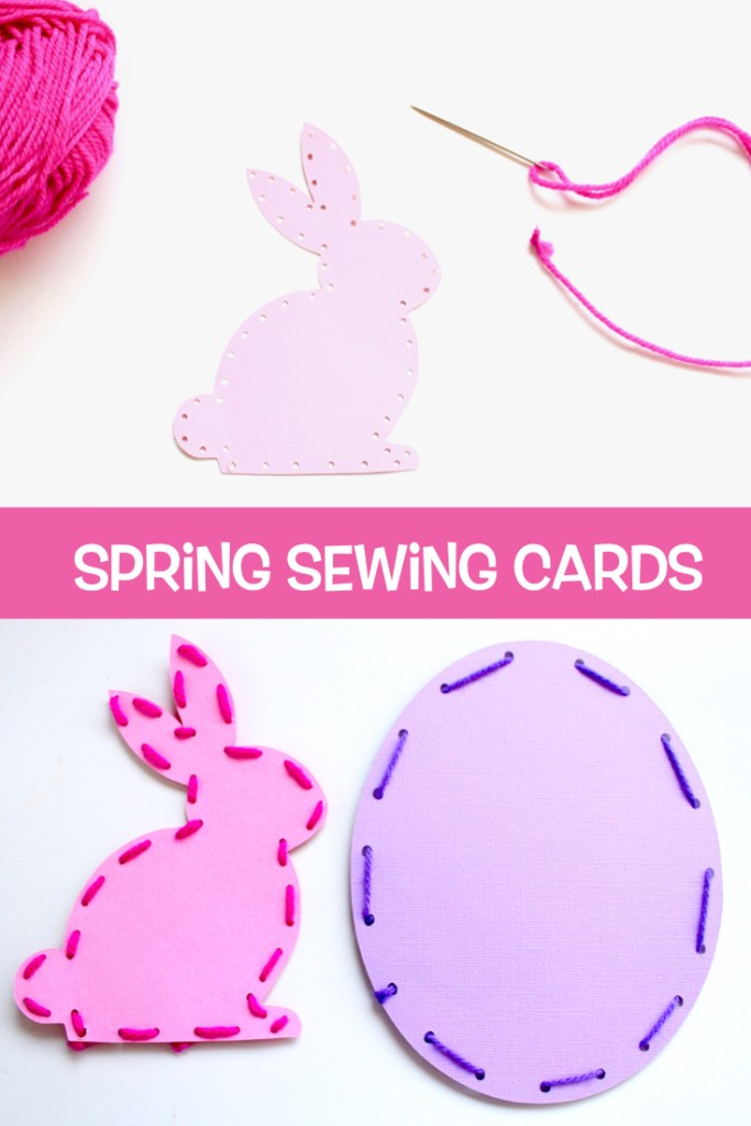 These easy beginner sewing cards make a great kids' activity. #kidscrafts #sewingcards #sewingforkids #kidsactivities #preschool #estercrafts #Springcrafts
