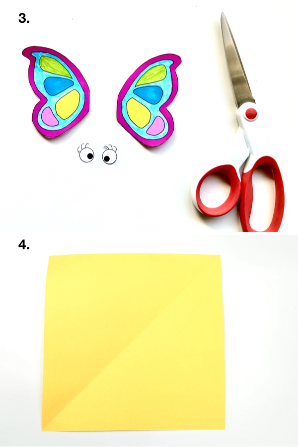 Butterfly Origami Puppet  This folded paper butterfly is really an easy and a fun craft activity for the kids. #kidscrafts #origami #papercrafts #paperbutterfly