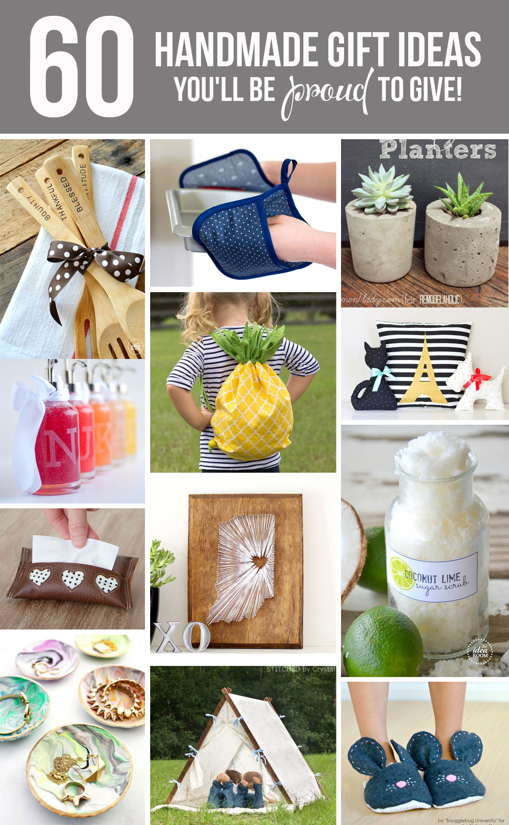 60 Handmade GIFT IDEAS...you'll be PROUD to give!   via Make It and Love It