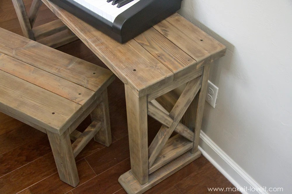 DIY Digital Piano Stand and Bench (...a $25 project!!) | via makeit-loveit.com