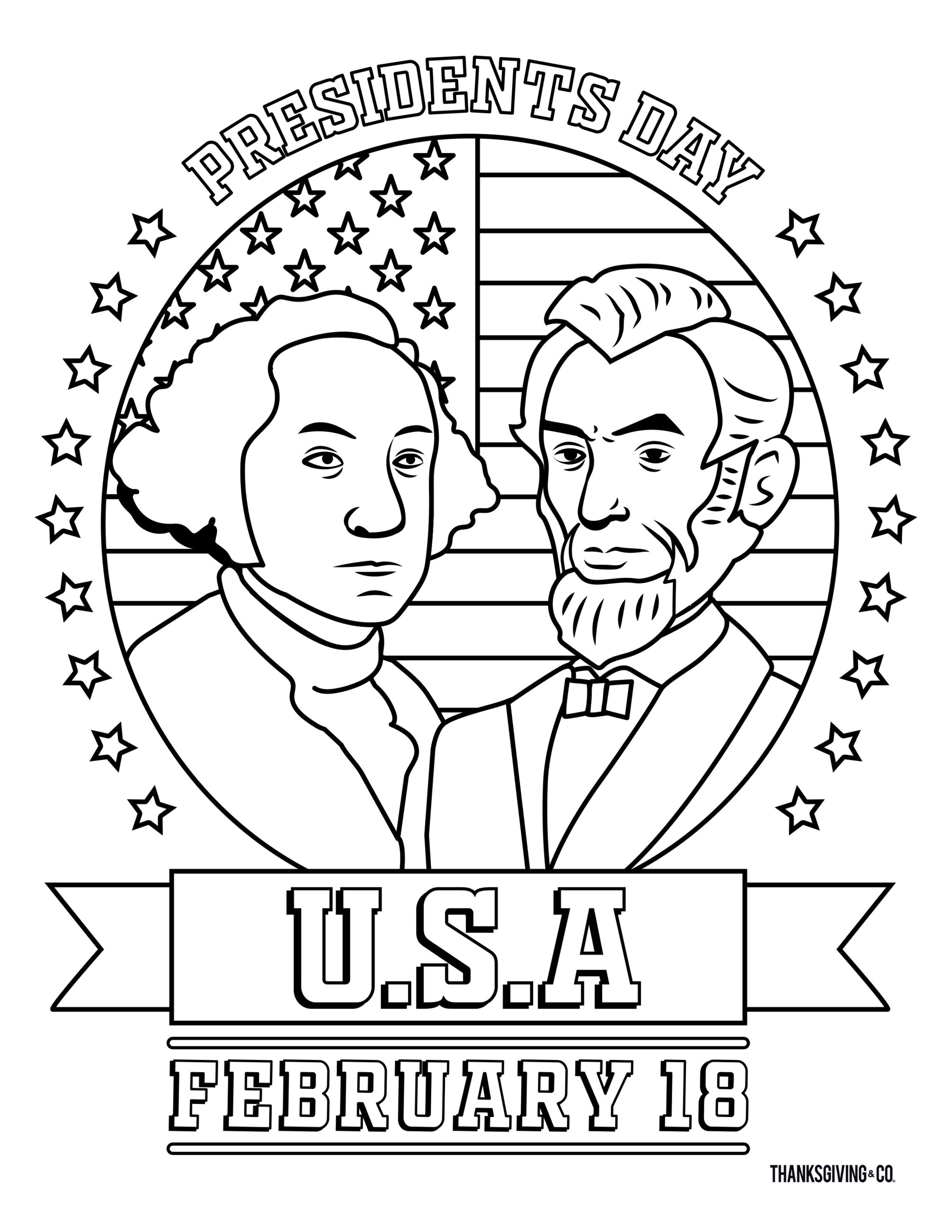 8 Free Printable Presidents Day Coloring Pages