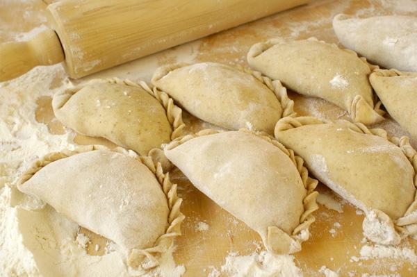 "Homemade Pierogi, from She Knows, via ""Sour Cream Pierogi Dough,"" from Make It Like a Man!"
