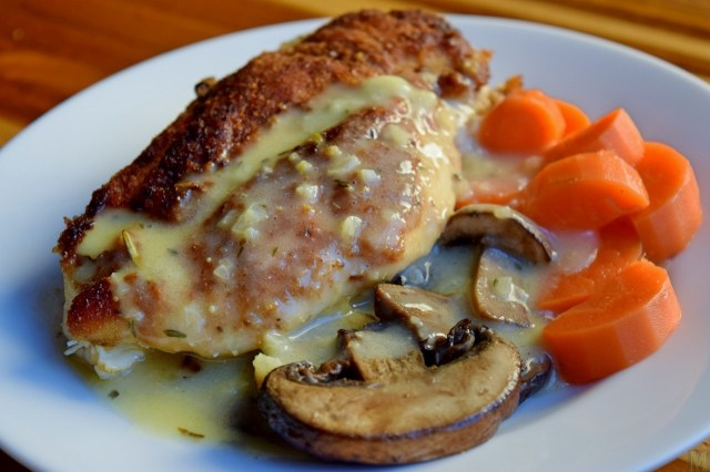 """Lemon Chicken."" from Make It Like a Man! Chicken Breasts with Mushrooms in a Garlic-Lemon-Thyme Sauce"