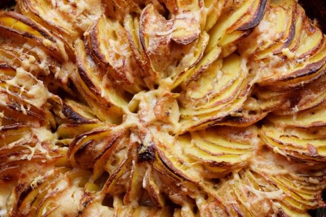 """Cast-Iron Skillet Hasselback Potato Gratin Recipe,"" from Make It Like a Man!"