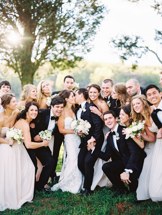 Bride & groom with fun bridal party
