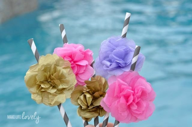 Make Tissue Paper Flower Straws for a Party