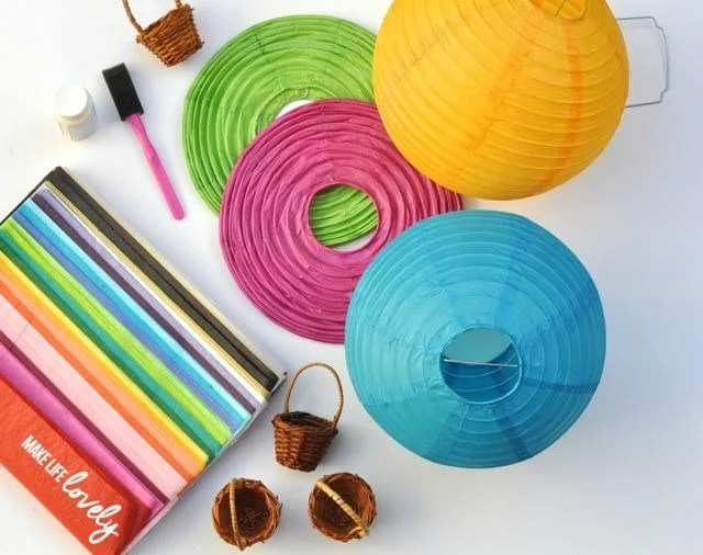 Supplies to make paper lantern hot air balloons