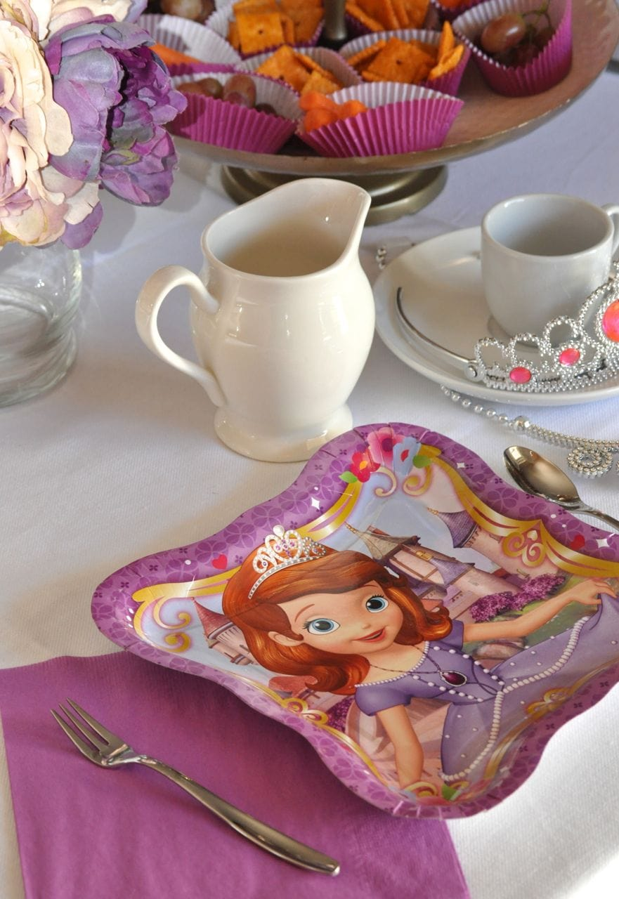Sofia the First paper plates & Sofia the First Slumber Party Ideas - Make Life Lovely