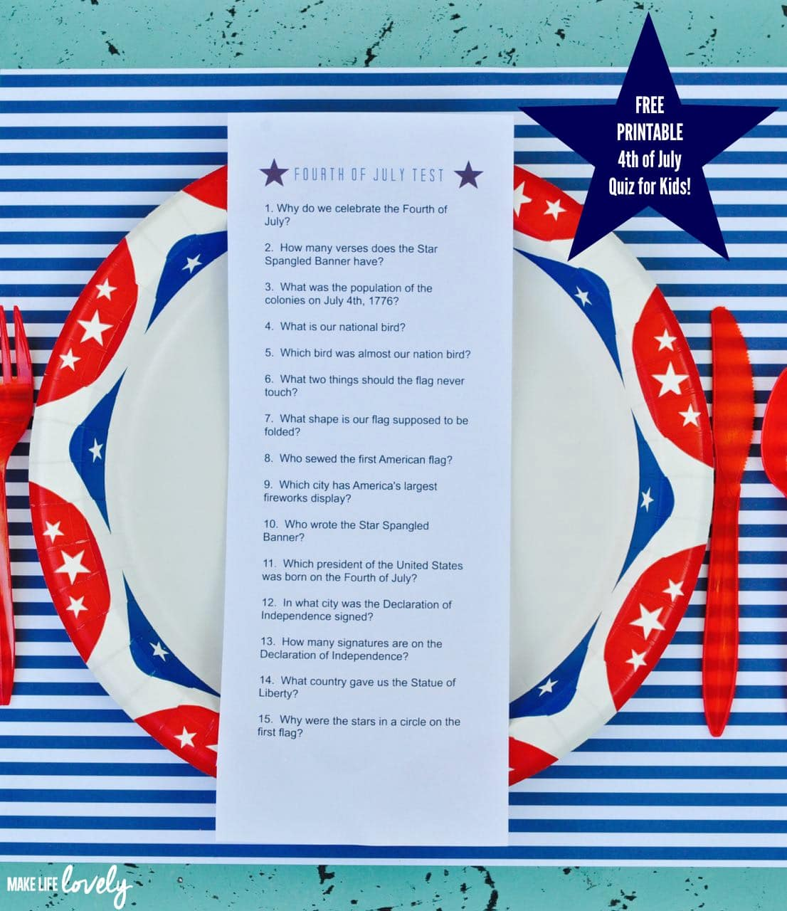 Free Printable Fourth Of July Quiz For Kids