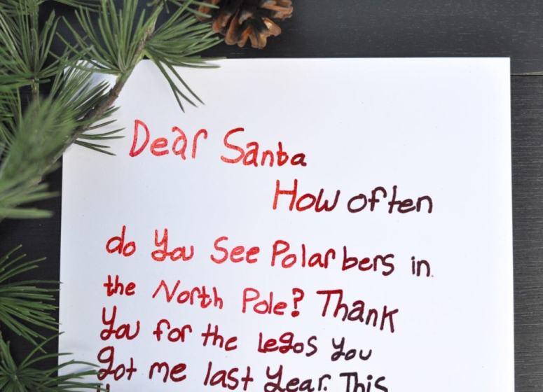 Red foil letter to Santa