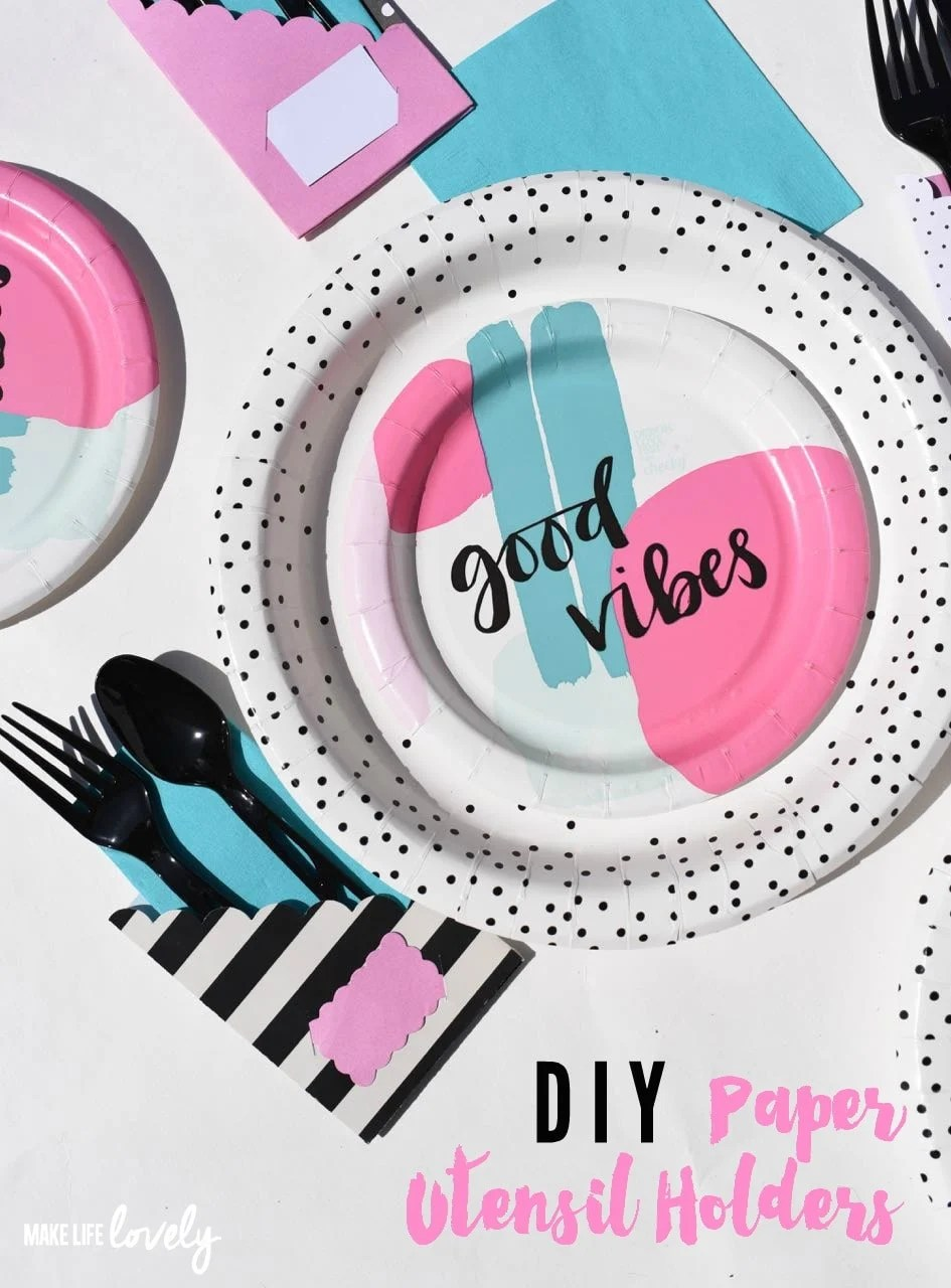 Paper utensil holders for picnics and parties with Sizzix