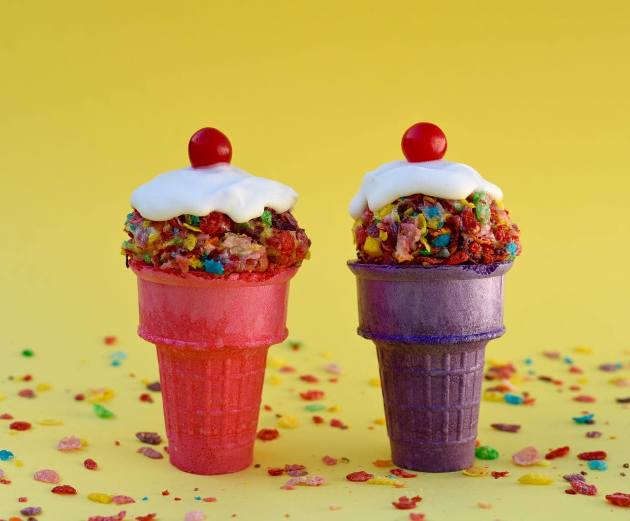 Fruity Pebbles Ice Cream Cones