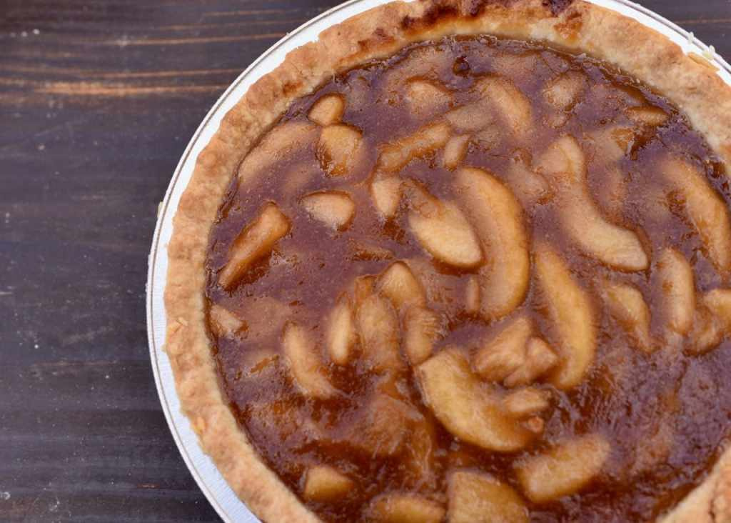 Claim Jumper pie at a rustic holiday party