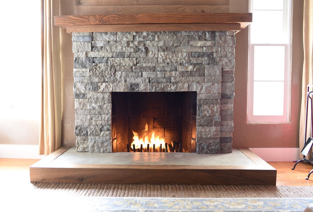 Exceptional Brick Fireplace Part - 14: AirStone Fireplace Makeover. How To Turn Your Old Brick Fireplace Into A  Beautiful Stone Fireplace