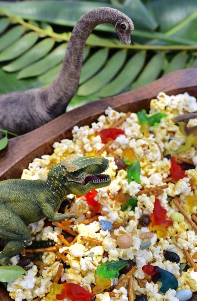 Dinosaur snack mix recipe. The perfect treat for a dinosaur party or just because!