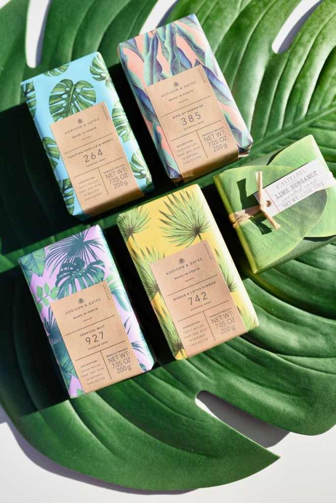 Tropical Mother's Day gift basket idea with tropical soap