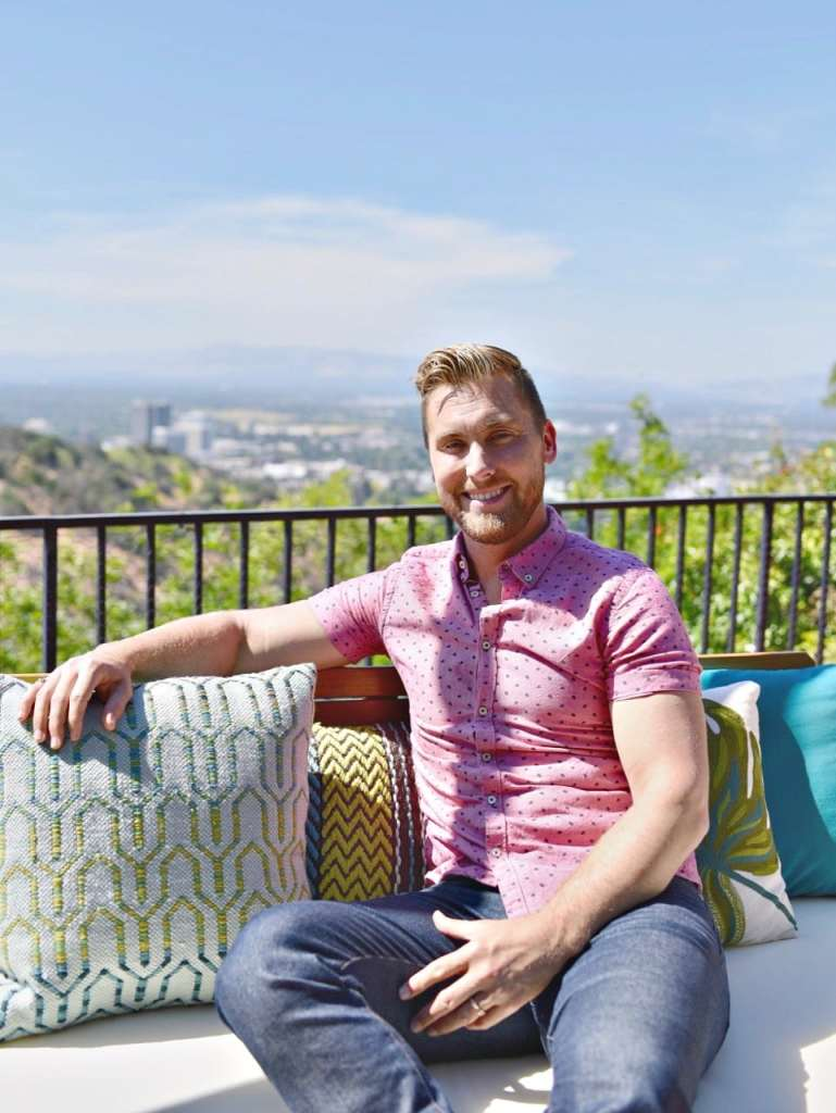Lance Bass in his Los Angeles home