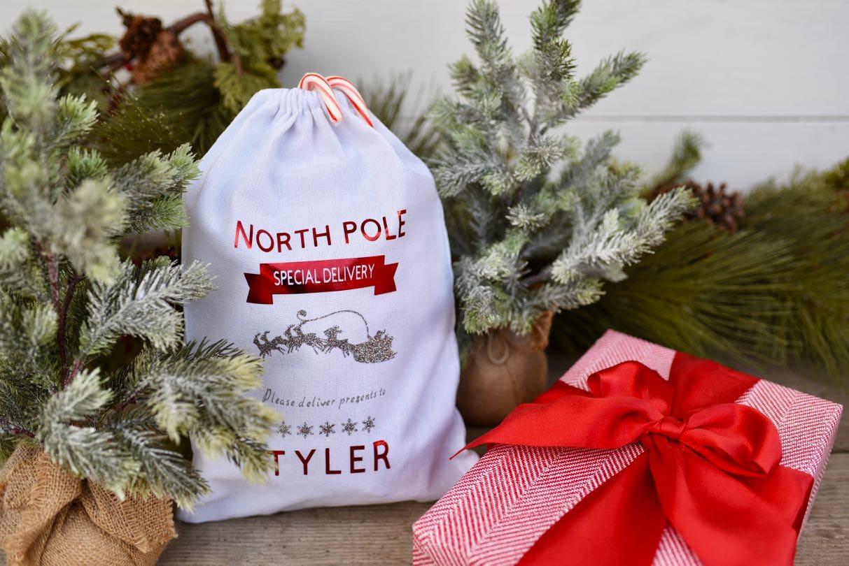 DIY personalized Christmas sack gift bag with