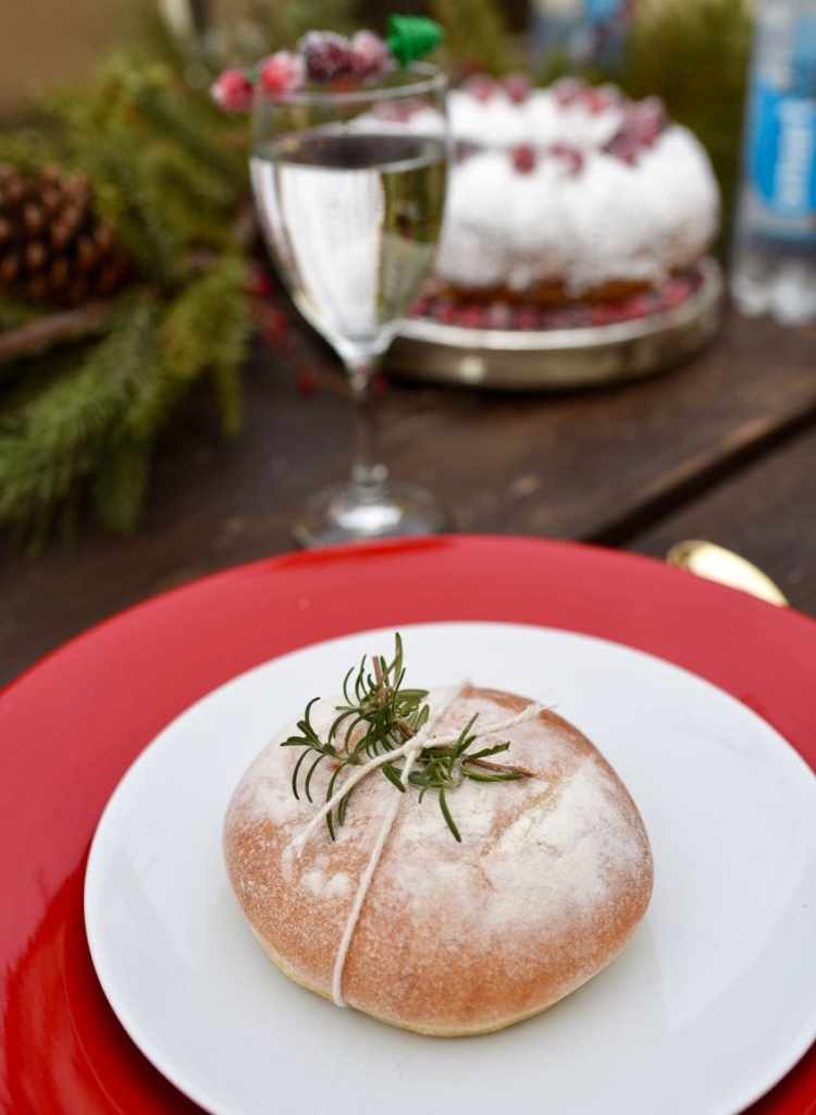 Rustic rosemary bread for holiday entertaining dinner party