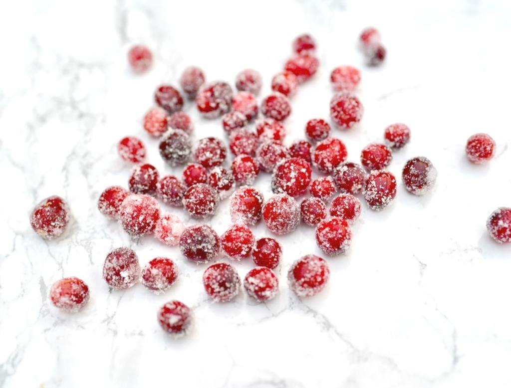 Sugared cranberries for topping orange cranberry bundt cake