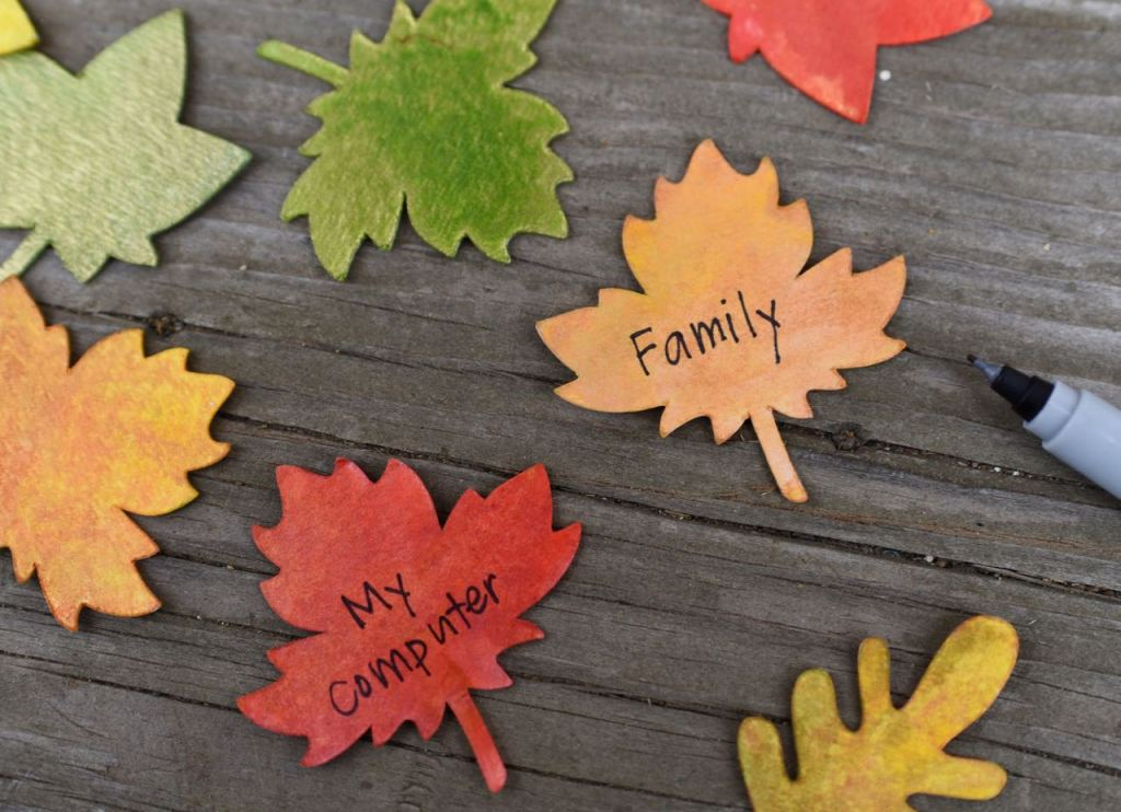 Write on the thankful tree leaves what you're thankful for