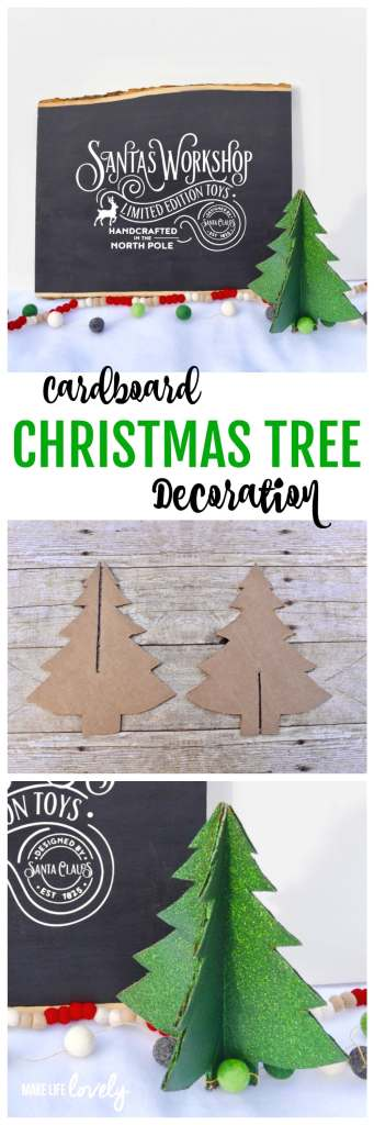 Cardboard Christmas tree decoration. Make this darling Christmas tree from a cardboard box! It's a great way to recycle and is a fun Christmas craft.