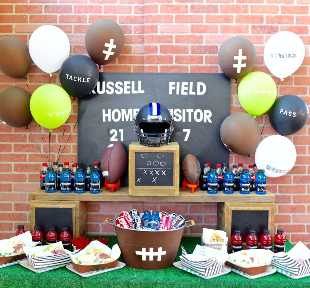 Football party table decorations and food ideas