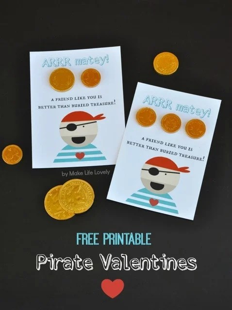 Free Printable Pirate Valentine's Day Cards