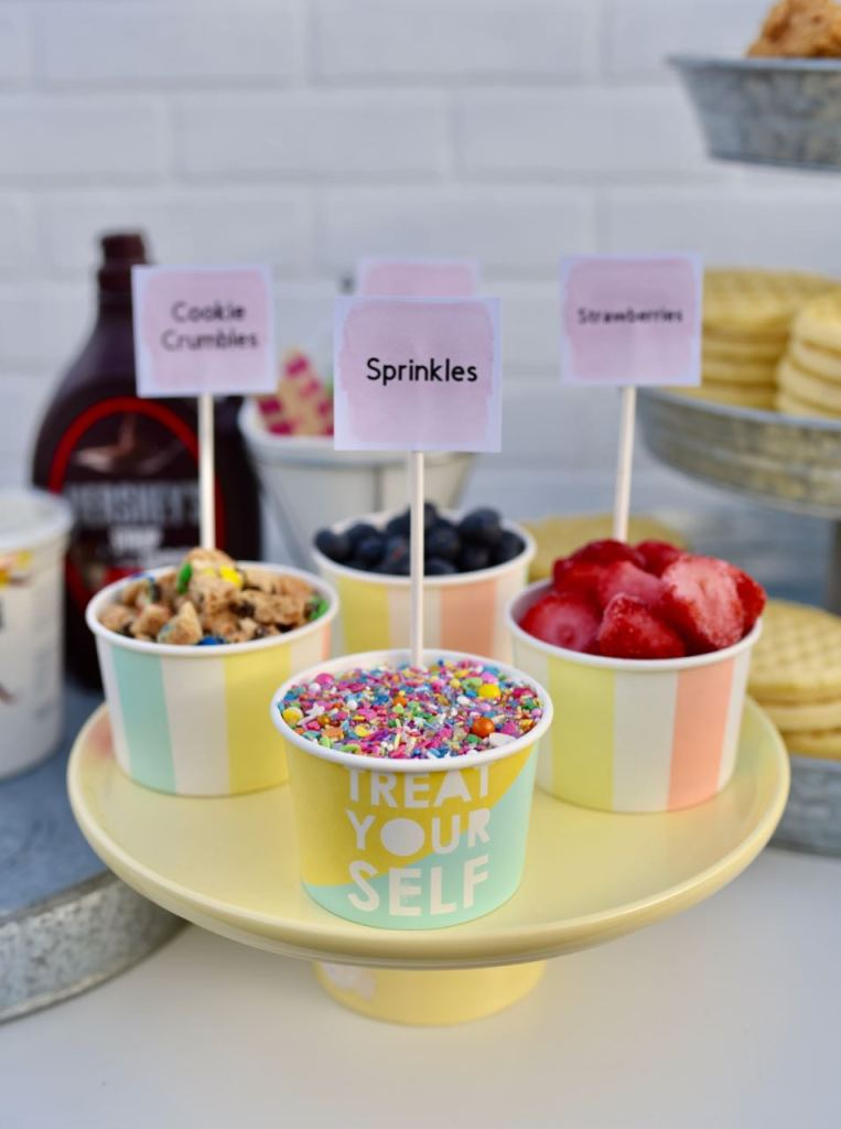 Waffle bar party ingredients and toppings