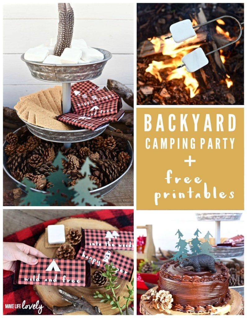 Backyard camping party with free printable