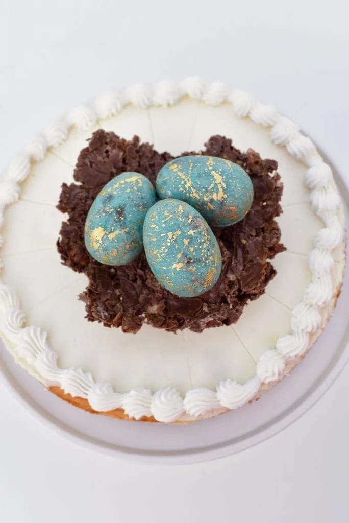 Chocolate Easter eggs in chocolate nest on cheesecake for Easter